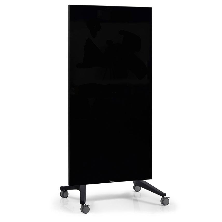 Glas whiteboard på hjul- svart